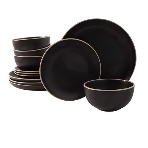 Gibson Home Rockaway Round Stoneware Dinnerware Sets, Service for 4 (12pcs), Black