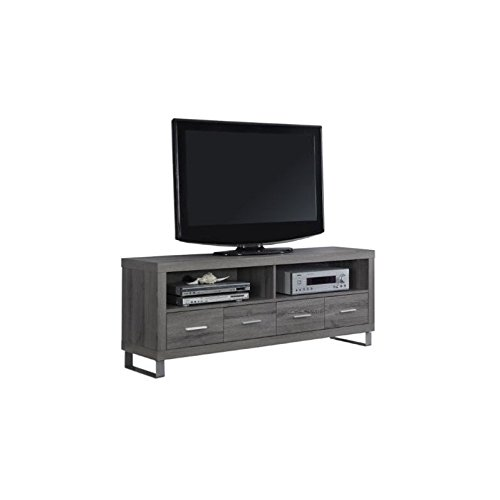 (Monarch Specialties I 2517, TV Console with 4 Drawers, Dark Taupe Reclaimed-Look, 60
