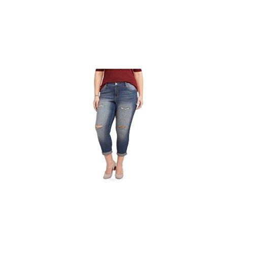 Faded Glory Women's Plus Boyfriend Crop Distressed Jeans (18W) Boyfriend Crop