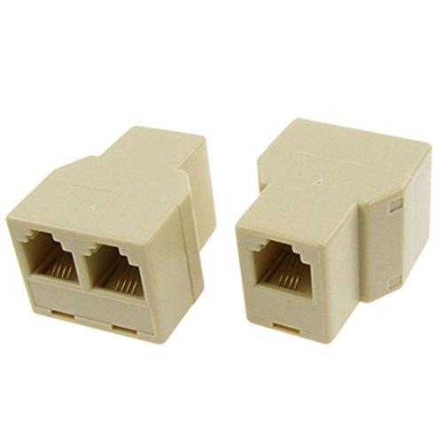 uxcell 2 Pcs RJ11 6P4C 1 to 2 Female Telephone Modular Splitter Joiner