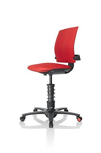 3Dee ergonomischer Bürostuhl/Chefsessel, Bezug: Mikrofaser in Farbe ferraro-rot, Feder: BASIC in schwarz