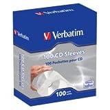 Verbatim CD/DVD Paper Sleeves with Clear Window - 100 Pack 49976