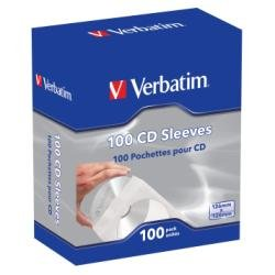 Paper Cd Sleeves (Verbatim CD/DVD Paper Sleeves with Clear Window – 100 Pack 49976)