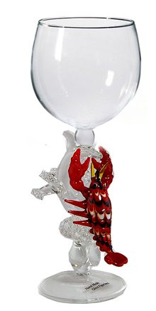 Lobster Hand Made Wine Glass from Yurana Designs W278