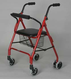 Seat Rollator - Bugunady. This walking rollator with push Down Brake has a Weight capacity: 300 lbs, Lightweight aluminum frame, Push button removable backrest, Limited lifetime warranty on the frame.