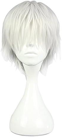 Cosplay Wig 耐熱高品質 コスプレパーティー ハイキュー 金木 研 白い 風 ショート ウィッグ コスチューム かつら