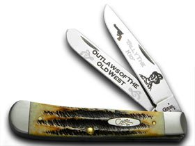 CASE XX Collector's Billy The Kid 1/600 Trapper Bone Stag Pocket Knife Knives