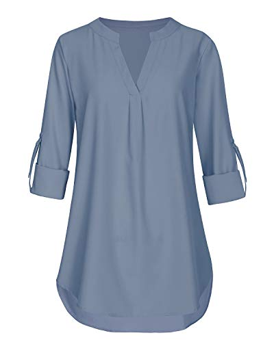 Aliling Business Casual Tops for Women, Ladies 3/4 Cuffed Sleeve V Neck Pleats Fitted Tunic (Blue, Large) by Aliling (Image #1)