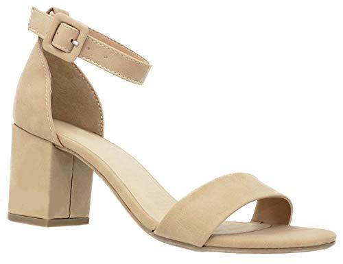 MVE Shoes Chunky Block Heel Dress Sandal Over Toe & Ankle Wrap Strap, Natural Nb 6