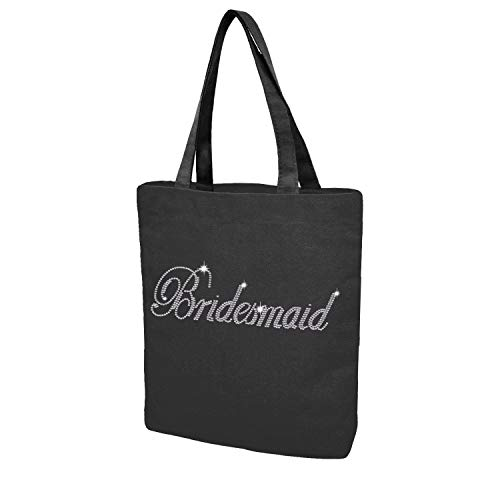 Custom Tote bag for Bride Bridesmaid Crystal Cotton Bags Rhinestone Bridal Shower Bachelorette Party Gifts (Black - Bridesmaid) by Elehere
