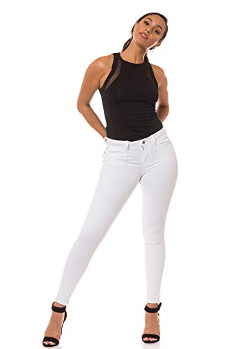 Aphrodite Mid Rise Jeans for Women - Solid Basic Skinny Ankle Womens Jeans with 5 Pockets 1263 White 2XL