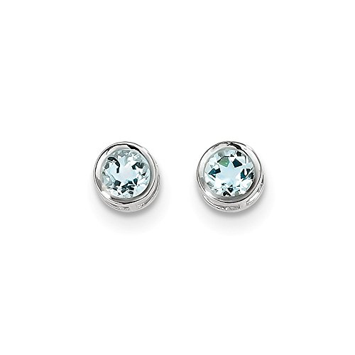 14k Genuine Aquamarine Earrings - 14k White Gold 5mm Bezel Birthstone Genuine Aquamarine Stud Post Earrings