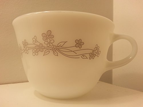 (Pyrex Milk Glass Gray Ribbon Bouquet Coffee Cup )