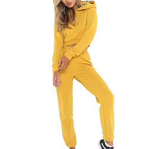 Fashion Women Long Sleeve Bandage Stripe Splice Hooded Sweatshirt Tops Pants Outdoor Sports Set Yellow