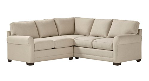 Stone Beam Kristin Performance Fabric Sectional Sofa Couch, 93 W, Sand