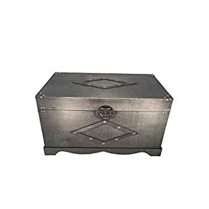 Jamestown Chest Wooden Steamer Trunk - Medium Size Trunk Black