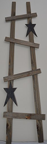 AMISH HANDMADE DECORATIVE COUNTRY 48 INCH X 12 INCH 4 RUNG WOOD LADDER WITH 2 WOODEN STAR CUTOUTS