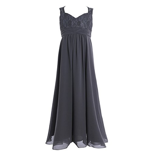 00203a29b ylovego New Tulle Lace Long Flower Girls Dresses Ball Gown Floor Length  Girls First Dress Party Formal Occasion V-Neck Dress Gray Child-6