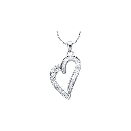 (Brilliant Bijou 10kt White Gold Womens Round Baguette Diamond Heart Pendant 1/4 Cttw)