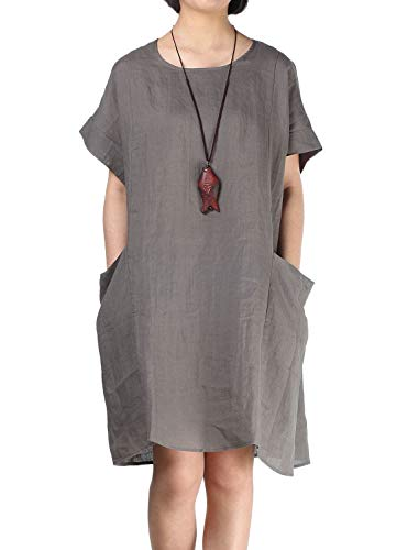 - Mordenmiss Women's Linen Tunic Dresses Dropped Shoulder Loose-Fit Long Tops with Big Pockets (M,Gray)