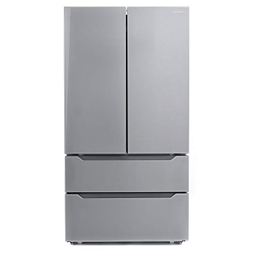 Cosmo FDR225RHSS 36 in Double French Door Refrigerator | Energy Efficient Fridge with 2 Drawer Bottom Freezer & Built-In Automatic Ice Maker/Chest, 22.5 cu. ft. Storage Capacity - Stainless Steel