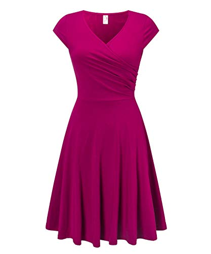 (Women's Casual V Neck Aline Work Party Swing Dresses Cap Sleeve Midi Dress Purple)