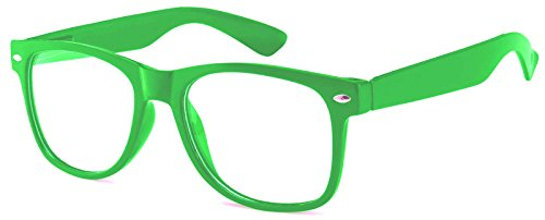 Vintage Style Sunglasses Clear Lenses Green Frame