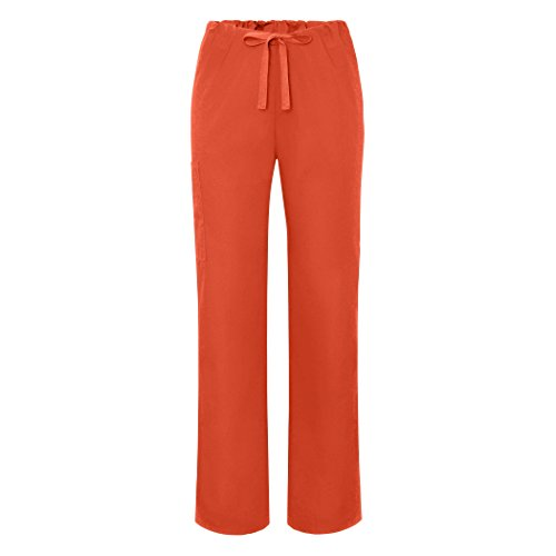 Adar Universal Unisex Natural-Rise Drawstring Tapered Leg Pants - 504 - Mandarin Orange - L