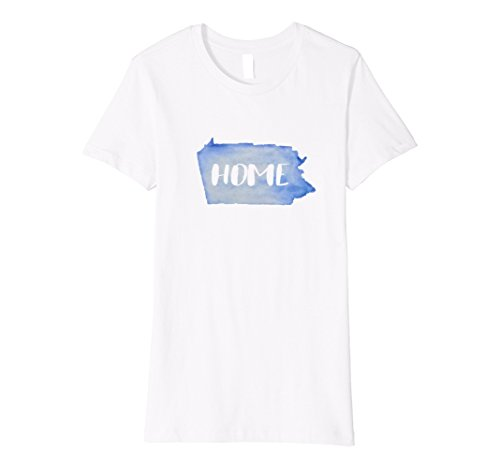 Womens Love Pennsylvania Home T Shirt With Watercolor Design Large White