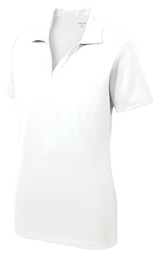 Women's Dri-Equip Short Sleeve Racer Mesh Polo Shirt-L-White - Collar Polo T-shirt