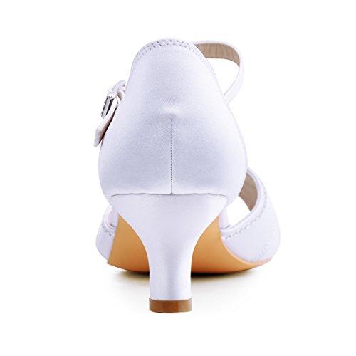 ElegantPark HP1623 Women's Sandals Peep Toe Mid Heel Pumps Pleated Rhinestones Satin Evening Wedding Party Shoes Photo #3