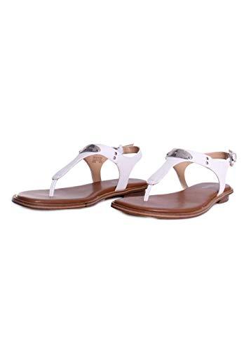 Michael Michael Kors Women's MK Plate Thong Optic White Saffiano Sandal 7.5 M (Flats Michael Kors)