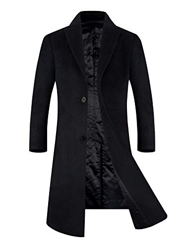 APTRO Men's Wool Blend Trench Coat Full Length Overcoat Fleece Lining Top Coat (Black-Knee Length, S)