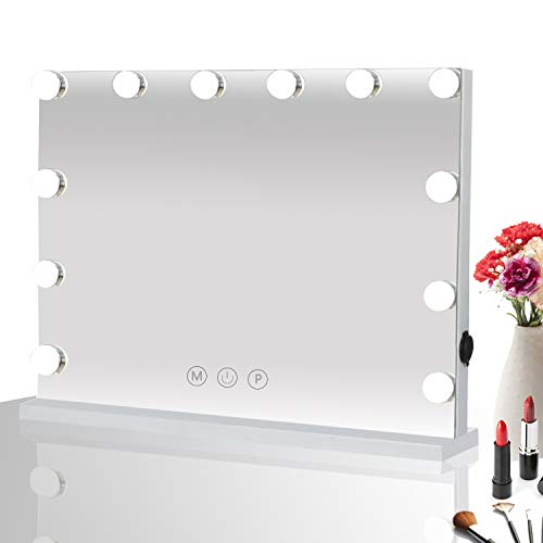 HOMPEN Makeup Vanity Mirror with Lights, Table Top Mirror with Dimmable LED Bulb and Touch Switch, USB Outlet (Sale With For Vanity Mirror Lights)