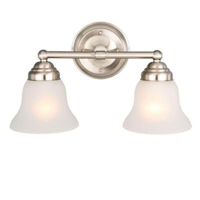Amazon.com: Perfect Home 2-light Brushed Nickel Vanity with Frosted ...
