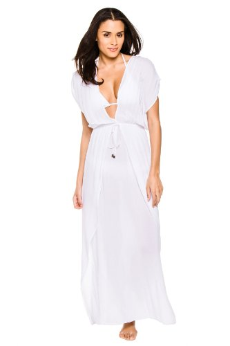 Elan International Women's Wovens Caftan Swim Cover Up White L