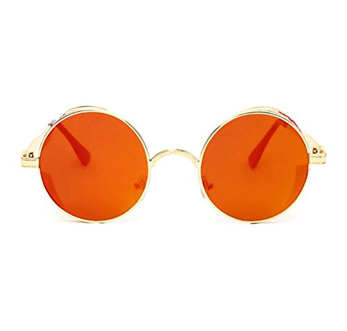 Gafas Reflejo marco no de sol Steampunk retro redondo de de clásico metal unisex Dorado tridimensional Patrón marco Rojo polarizado de rxwrSXtH