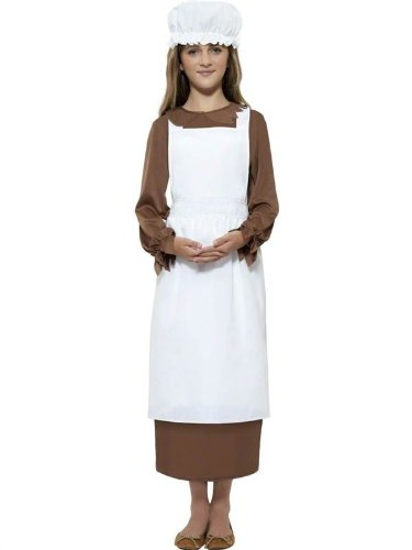 Costumes Victorian Servant (Star55 Big Boys' Victorian Tudor Medieval Maid Servant Apron Hat Fancy Dres Costume Medium (7-9 Years))