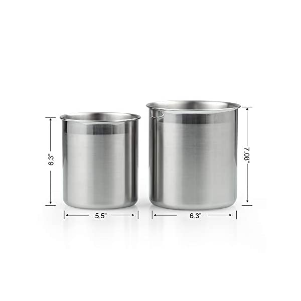 Cook N Home Stainless Steel Utensil Holder Jumbo 2PC set, 5.5-inch x 6.3-inch and 6.3-inch x 7.08-inch, Silver 3