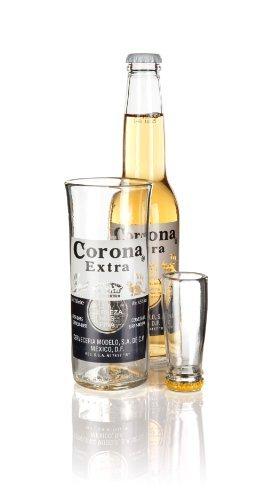Reciclado botella de corona extra cerveza cristal y Juego de vasos de chupito () en