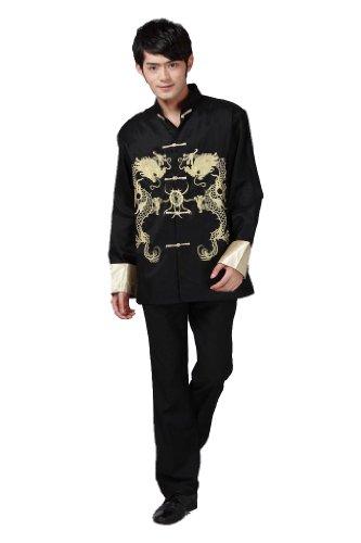 JTC Tai Chi Uniform Top Royal Kung Fu Jacket for Men Chinese Shirt Black (L) (Silk Kung Fu Shirt)