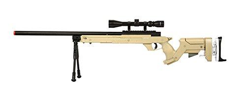 Well SR22 Bolt Action Type 22 Rifle de francotirador Airsoft Gun (Tan / Scope & Bipod Package)