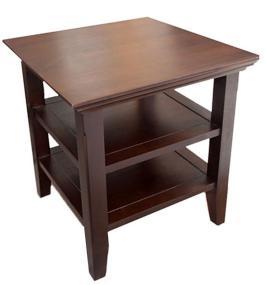 Simpli Home Acadian End Table, Rich Tobacco Brown