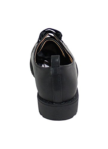 Noir Cuir Plate Shoes Style Chaussure By Femme wn4Y1gxACq