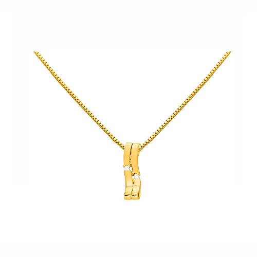 Or Jaune 14 ct Pendentifs Diamant , 0.03 Ct Diamant, GH-SI, 1.62 grammes.