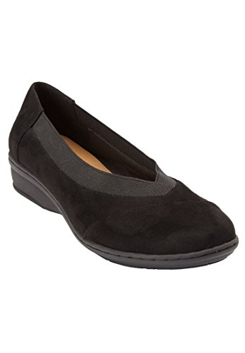 Comfortview Mujeres Plus Size Kail Flats Negro