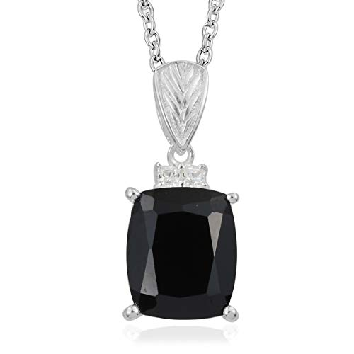 - Thai Black Spinel Cubic Zirconia Stainless SteelChain Pendant Necklace for Women 20