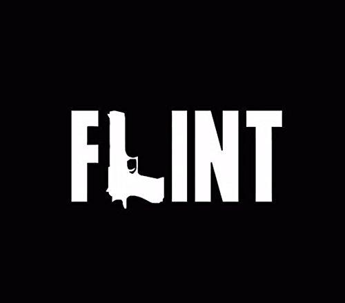 Flint Rifle Gun Michigan Flint Town Vinyl Car Decal Decals Sticker Window, Die cut vinyl decal for windows, cars, trucks, tool boxes, laptops, MacBook - virtually any hard, smooth surface (Best Michigan Small Towns)