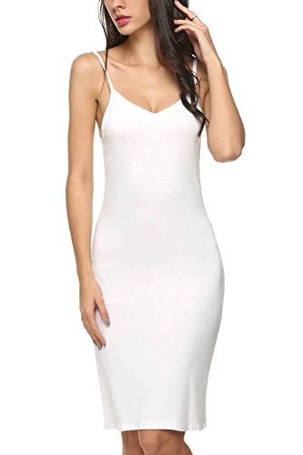 Avidlove Women Full Slips Cotton Blend V Neck Straight Dress Nightwear (M, White (FBA))