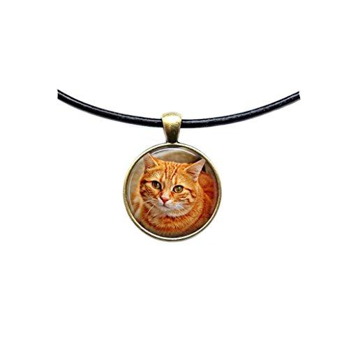 Animal jewelry Orange Cat pendant Cat necklace